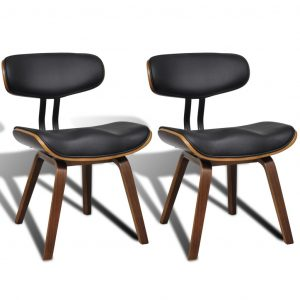 vidaXL Dining Chairs 2 pcs Bent Wood and Faux Leather