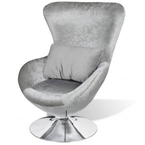 vidaXL Armchair with Egg Shape Silver