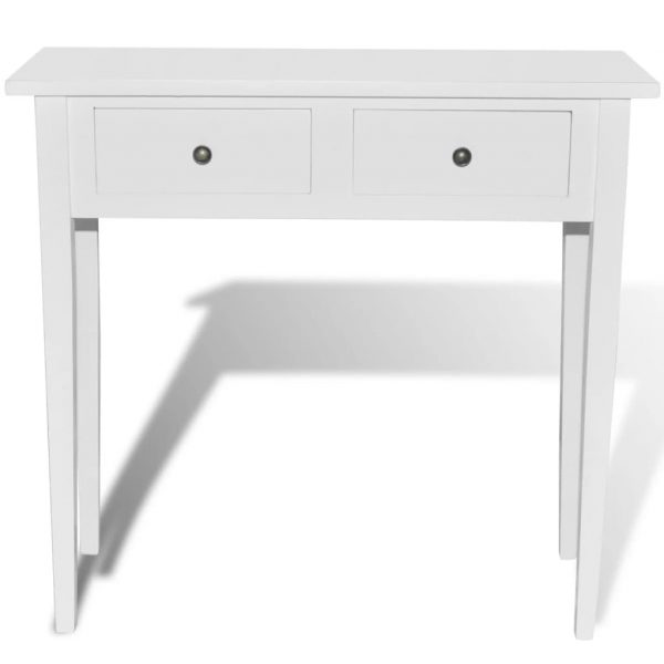 Dressing Console Table with Two Drawers White