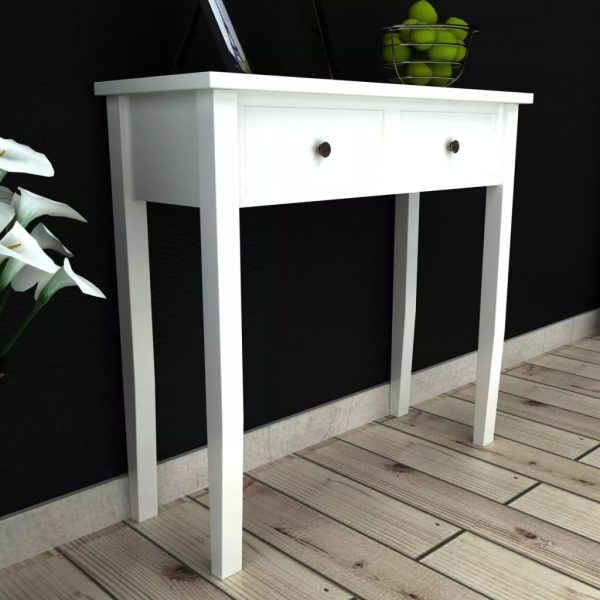 vidaXL Dressing Console Table with Two Drawers White