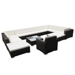 12 Piece Garden Lounge Set with Cushions Poly Rattan Brown