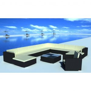 vidaXL 12 Piece Garden Lounge Set with Cushions Poly Rattan Black