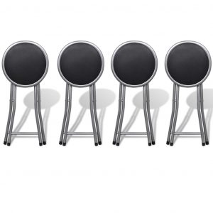 Folding Bar Stools 4 pcs Faux Leather