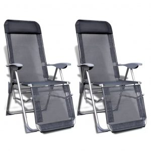 vidaXL Folding Garden Chairs 2 pcs Aluminium and Textilene Grey