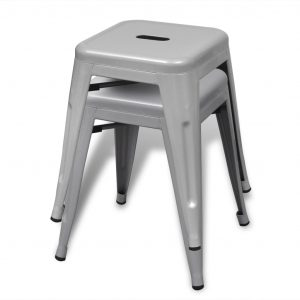 Stacking Stools 2 pcs Grey Metal