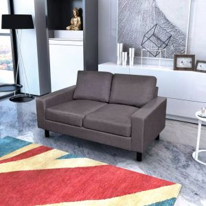 vidaXL Sofa 2-Seater Fabric Dark Grey
