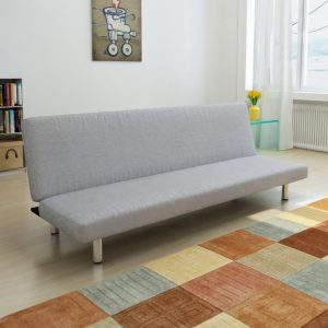 vidaXL Sofa Bed Light Grey Polyester