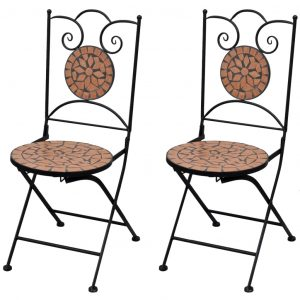 vidaXL Folding Bistro Chairs 2 pcs Ceramic Terracotta