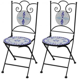 vidaXL Folding Bistro Chairs 2 pcs Ceramic Blue and White