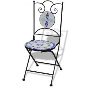 Folding Bistro Chairs 2 pcs Ceramic Blue and White