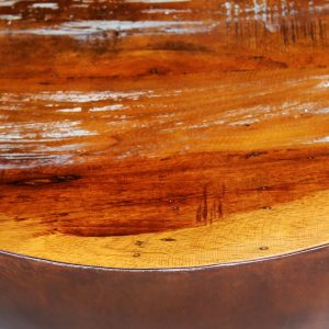 Coffee Table Bowl-shaped with Steel Base Solid Reclaimed Wood