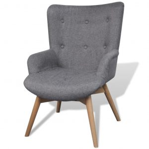 Armchair with Footstool Grey Fabric