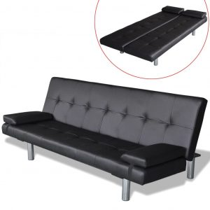 vidaXL Sofa Bed with Two Pillows Artificial Leather Adjustable Black