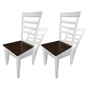 vidaXL Dining Chairs 2 pcs White and Brown Solid Wood and MDF