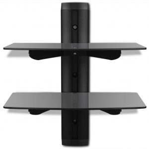 2-tier Wall Mounted Glass DVD Shelf Black