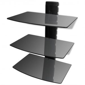 vidaXL 3-tier Wall Mounted Glass DVD Shelf Black