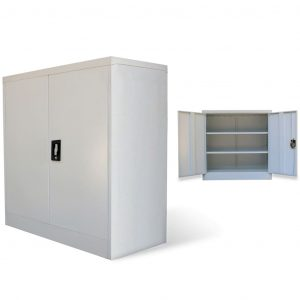 vidaXL Office Cabinet with 2 Doors Grey 90 cm Steel