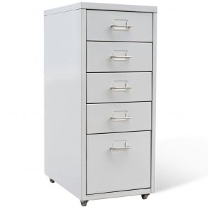 vidaXL File Cabinet with 5 Drawers Grey 68,5 cm Steel