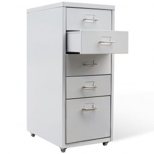 File Cabinet with 5 Drawers Grey 68,5 cm Steel