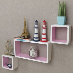 3 White-pink MDF Floating Wall Display Shelf Cubes Book/DVD Storage