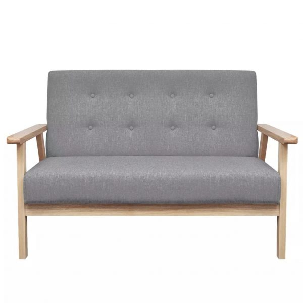 2-Seater Sofa Fabric Light Grey