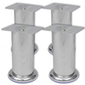 vidaXL Round Sofa Legs 4 pcs Chrome 120 mm