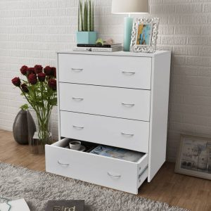 vidaXL Sideboard with 4 Drawers 60×30.5×71 cm White