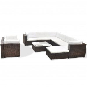 10 Piece Garden Lounge Set with Cushions Poly Rattan Brown