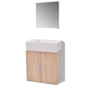 Three Piece Bathroom Furniture and Basin Set Beige