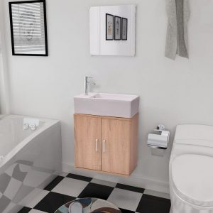 vidaXL Three Piece Bathroom Furniture and Basin Set Beige