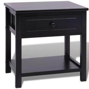 Bedside Cabinet Wood Black