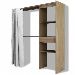 Cloth Cabinet with Curtain Adjustable in Width 121-168 cm Oak