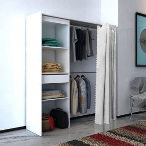 vidaXL Cloth Cabinet with Curtain Adjustable in Width 121-168 cm White