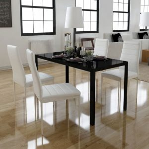 vidaXL Five Piece Dining Table Set Black and White