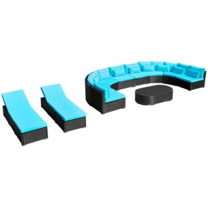 13 Piece Garden Lounge Set with Cushions Poly Rattan Blue
