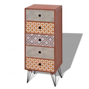 Side Cabinet 5 Drawers Brown