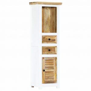 vidaXL Highboard White and Brown 40x30x128 cm Solid Rough Mango Wood