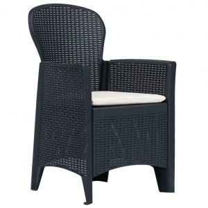 Garden Chairs 2 pcs with Cushion Anthracite Plastic Rattan Look