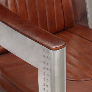 Aviator Armchair Brown Real Leather