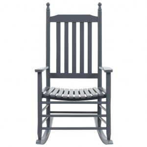 Rocking Chair with Curved Seat Grey Poplar Wood