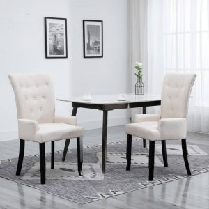 vidaXL Dining Chair with Armrests Beige Fabric