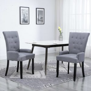 vidaXL Dining Chair with Armrests Light Grey Fabric