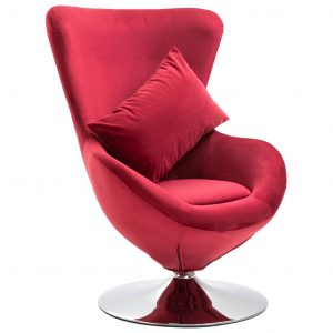 vidaXL Swivel Egg Chair with Cushion Red Velvet