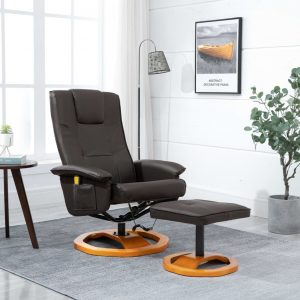vidaXL Massage Chair with Foot Stool Brown Faux Leather