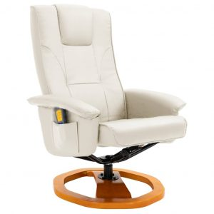 Massage Chair with Foot Stool Cream Faux Leather