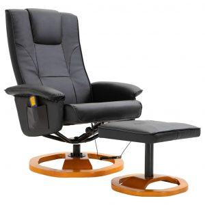 Massage Chair with Foot Stool Black Faux Leather