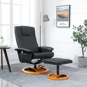 vidaXL Massage Chair with Foot Stool Black Faux Leather