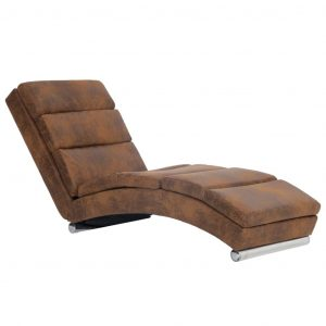 Chaise Longue Brown Faux Suede Leather