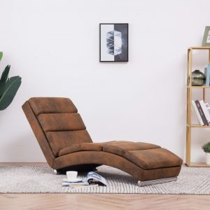 vidaXL Chaise Longue Brown Faux Suede Leather