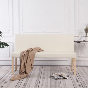 vidaXL Bench 139.5 cm Cream Faux Leather